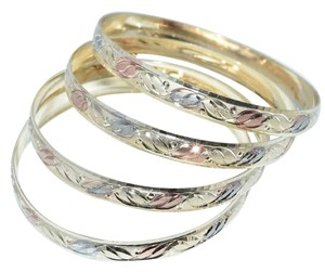 Other Bella Flora Tri-Color Diamond Cut Bangle Bracelets (Set Of 4pcs)