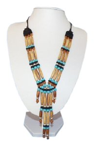 Other Turquoise Silver Elk Horn Amber Leather Bead Necklace, Mark Barfoot
