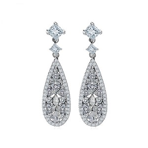 White Crystal Zircon Bridal Earrings
