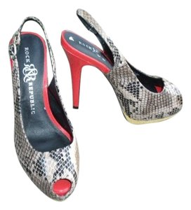 Rock & Republic Open Toe Snake Red Heels Multi-Color Pumps