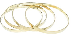 Other The Lora Sleek Plain Gold Smooth Set of 4 Thin Bangles