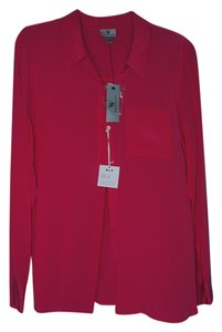 Worthington Essential Silk Elegant Vibrant Layering Button Down Shirt pink