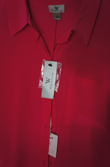 Worthington Essential Silk Elegant Vibrant Layering Button Down Shirt pink Image 1
