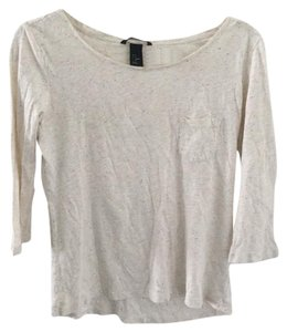 H&M Colors Dots Multicolored Dot 3/4 Sleeve T Shirt Beige