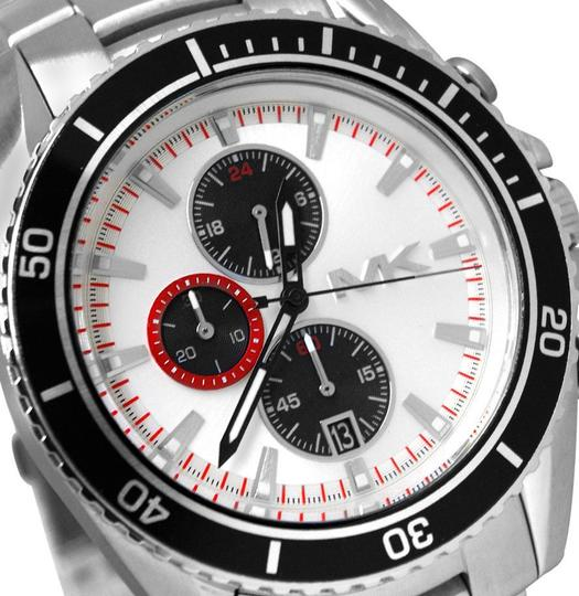 Michael Kors Michael Kors Lansing White Black Chrono Date Dial Steel Men Watch