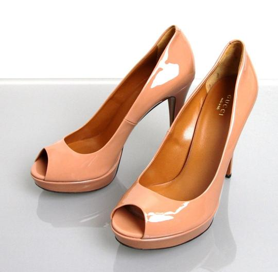 Gucci Betty Platform Leather Open Toe Phard Patent Leather Nude Pumps