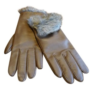 Leather fur Gloves size large