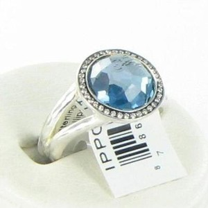 Ippolita Ippolita Lollipop Ring London Blue Topaz 0.15cts Diamond Sterling