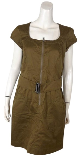 French Connection Mustard Green Fcuk Belted Above Knee Cocktail Dress Size 10 (M) French Connection Mustard Green Fcuk Belted Above Knee Cocktail Dress Size 10 (M) Image 1