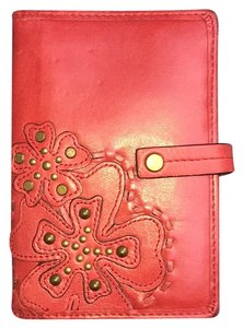 Fossil Wristlet in Red, Brass Buttons
