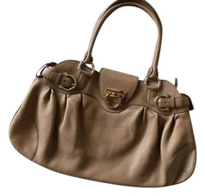 Salvatore Ferragamo Zipper Gancini Italian Satchel in Beige