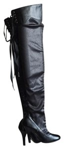 Colin Stuart Thigh High Over The Knee Stiletto Lace Up black Boots