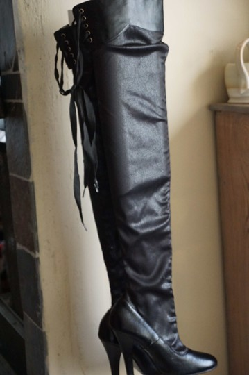 Colin Stuart Thigh High Over The Knee Stiletto Lace Up black Boots Image 1