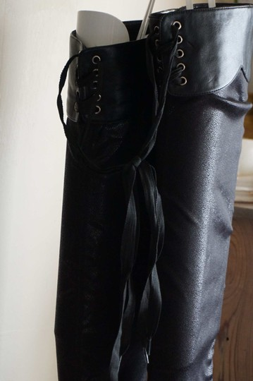 Colin Stuart Thigh High Over The Knee Stiletto Lace Up black Boots Image 4