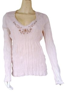 Crinkled Embroidered Top Ivory