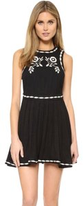 Free People short dress Black Folk Embroidered Birds on Tradesy