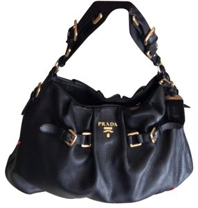 Prada Satchel in Black And Gold