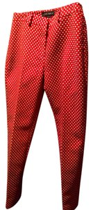 Pink Tartan Straight Pants red with white dots