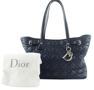 Dior Canvas Charms Tote in Dark Navy Blue