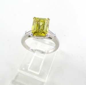 Platinum Ring Yellow Emerald Cut Diamond 3.29 Carat Engagement Women's Wedding Band