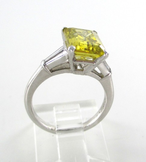 Platinum Ring Yellow Emerald Cut Diamond 3.29 Carat Engagement Women's Wedding Band Image 1