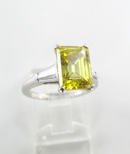 Platinum Ring Yellow Emerald Cut Diamond 3.29 Carat Engagement Women's Wedding Band Image 2