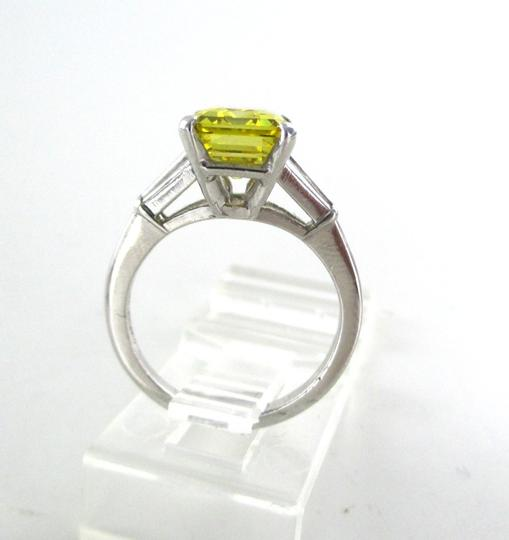 Platinum Ring Yellow Emerald Cut Diamond 3.29 Carat Engagement Women's Wedding Band Image 3
