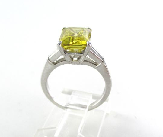 Platinum Ring Yellow Emerald Cut Diamond 3.29 Carat Engagement Women's Wedding Band Image 4