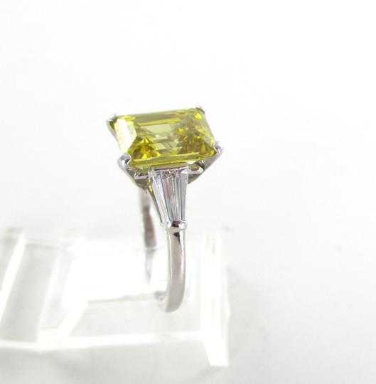 Platinum Ring Yellow Emerald Cut Diamond 3.29 Carat Engagement Women's Wedding Band Image 5