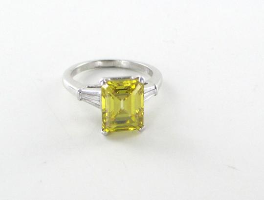 Platinum Ring Yellow Emerald Cut Diamond 3.29 Carat Engagement Women's Wedding Band Image 6