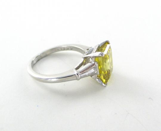 Platinum Ring Yellow Emerald Cut Diamond 3.29 Carat Engagement Women's Wedding Band Image 7