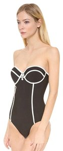 Other size 2 4 swimsuit bathing suit black white padded push up vtg small bustier monokini sexy!