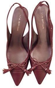 Via Spiga Slingback Pointed Toe Piping Burgundy/Cream Pumps