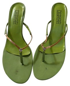 Spanish Leather Gold Crystals Leather green Sandals