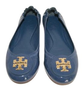 Tory Burch Patent Leather Golden Logo Navy Flats