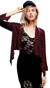 Cleobella Beaded Embellished Embroidered Burgundy Blazer