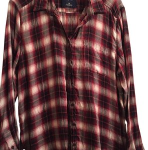 American Eagle Outfitters Button Down Shirt Red/black/pink plaid
