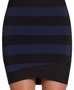 BCBGMAXAZRIA Mini Skirt Navy blue and black striped