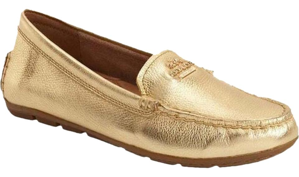 462e078528fe Coach Gold Mary Lock Up Leather Metallic Driving Loafers Flats Size ...