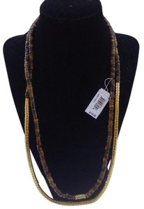 Michael Kors Gold-Tone Double Wrapped Textured Bead Necklace MKJ1605