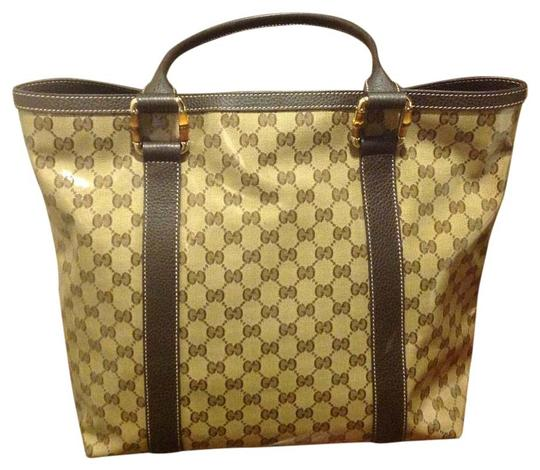 Gucci With Crystal Coating Bamboo On Handles Great Shape Tote in Beige and brown