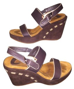 Donald J. Pliner Faux Leather Brown Wedges