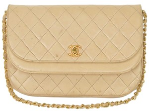 Chanel Double Flap Clutch Quilted Leather Shoulder Bag