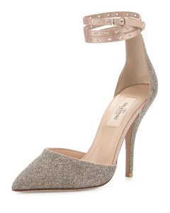 Valentino D'orsay Silhouette Ankle Wrap Made In Italy Run Small Glitter Covered Beige Pumps