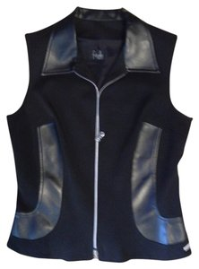 fitelle Paris Black Vest & Pants-Stretchy Fabric with Leather Embellishments - Sharp - Sexy