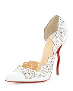 Christian Louboutin Pointed Toe Laser Cut White Pumps