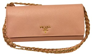 Prada Prada saffiano leather wallet on chain pink
