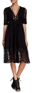 Free People Lace Embroidered Mesh V-neck Dress