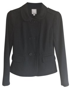 Halogen Military Double Breasted Peacoat Trench Cotton Black Jacket