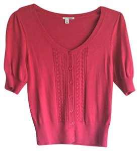 Halogen Openwork Knit Scoop Neck Pink Cardigan